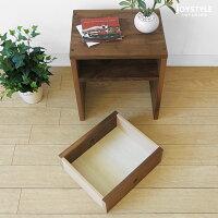 在庫有り国産日本製ウォールナット材ウォールナット無垢材天然木木製テーブルシンプルで使いやすい引出付きのナイトテーブルサイドテーブルCORK-ST+引き出し付き