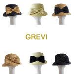 【Grevi麦わら帽子】グレヴィストローハット前リボンかわいいUV夏帽子