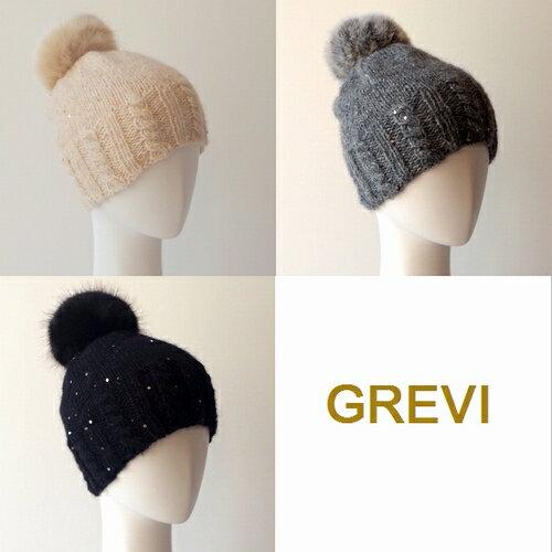 グレヴィGREVIグレヴィ帽子ニット帽子ニットキャップファーボンボン付ニットハットレディース防寒