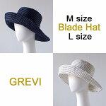【Grevi帽子】グレヴィハットリボン折りたたみつば広MLサイズ刺し子風ブレードハットUVつば夏帽子レディースUVカット紫外線防止