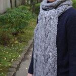 【ケーブル編みマフラー】ニットマフラーストールメンズ&レディースのギフトに最適!ふわふわボリューム毛糸ロングマフラー厚手かわいい縄編み