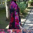 【大判 ストール】フラワー柄 花柄の大判ストール ネイビー 黒 白 花柄ストール バラ柄 メール便無料 誕生日
