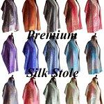 【絹ストール】シルクストールの巻き方/絹100%ストール/インド製ペイズリーストール/結婚式・パーティーに最適