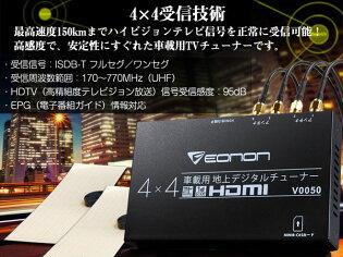 激安!地デジチューナー車載用4x4フルセグチューナーHDMI出力対応ハイビジョンテレビチューナー【安定性+受信感度】フルセグ/ワンセグ自動切替EONON(V0035)【あす楽対応】【一年保証】