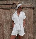 ロンパース サロペット オールインワン ジャンプスーツ 半袖シャツ シャツロンパースボタンシャツ ビーチウエア リゾートウエア ショートパンツ 短パンカバーアップ 水着の上に着る 海 リゾート サマーウエア サマードレス