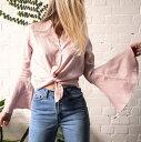 レディース シャツ 襟付き ボタンシャツ リネン 長袖シャツカジュアルシャツ Vネック トップス おしゃれ かわいいビーチウエア リゾートウエア