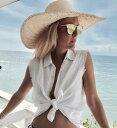 トップス レディース ボタンシャツ ノースリーブシャツ 襟付きシャツ へそ出しトップスビーチウエア リゾートウエア 水着カバーアップ 水着の上に着るカバーアップ 水着の上に着る 海 リゾート サマーウエア サマードレス