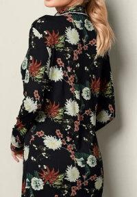 ワンピースルームウエアシャツワンピースボタンシャツ部屋着襟付きシャツ長袖花柄シャツナイトウエアナイトドレスショート丈ネグリジェスリープドレス寝巻かわいいセクシーボタンフロントスリープシャツ