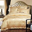 シルク調 ベッドカバー4点 セット ユーロデザイン【輸入取寄せ品】ジャガード豪華ゴールドカラー寝具セット