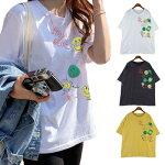 ロゴTシャツ/シンプル/フェミニン/ロゴプリント/大人可愛い/半そで/半袖/Tシャツ/英字ロゴ/ゆったり/ざっくり/スマイル