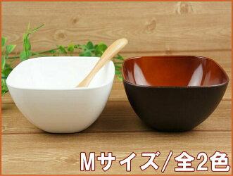 子供食器小鉢白軽量軽い日本製PET樹脂樹脂製角型ボウルS/ホワイト