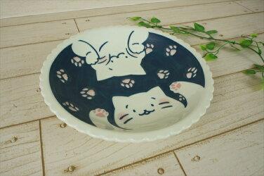 【ねことにちようび】21.0cm深皿約400g美濃焼大皿パスタ皿カレー皿丸猫ネコねこインテリア猫好きかわいいおしゃれプレート皿国産日本製陶器食器食洗機対応ラッピング不可