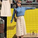 ニットスカート ラインボタン飾り ウエストゴム Aラインニットスカート Aラインスカート ミモレ丈 膝下丈 秋冬ボトムス ベージュ フリーサイズ 大人可愛い 大人カジュアル JSファッション 【180823】【8月新作】