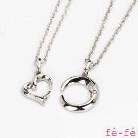 【fe-feフェフェ】ステンレスネックレスレディースペアペンダントスーパースチールダイヤモンドfe-259