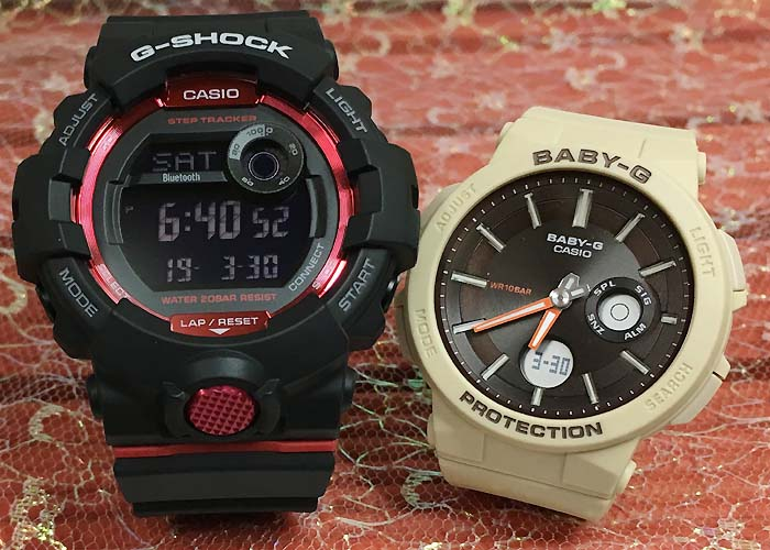 恋人たちのGショックペアウオッチ G-SHOCK BABY-G  ペア腕時計 カシオ 2本セットgショック ベビーg アナデジ GBD-800-1JF BGA-255-5AJFスマートフォーンアプリ連携 人気 ラッピング無料 g-shock メッセージカード手書きします あす楽対応