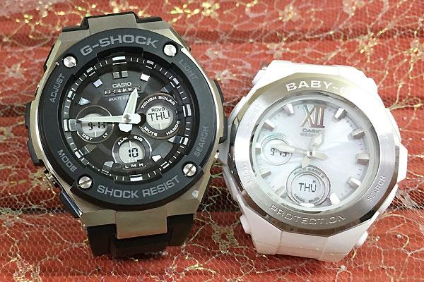 恋人たちのGショックペア G-SHOCK BABY-G ペアウォッチ ペア腕時計 カシオ 2本セット gショック 電波ソーラー GST-W300-1AJF BGA-2200-7BJF 人気 ラッピング無料 あす楽対応