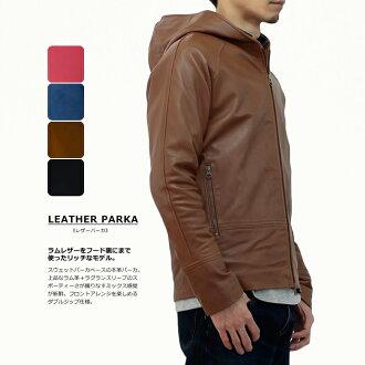 ラムレザーフーデッドパーカ / black / leather Jean / skin Jean and leather jackets / mens / ladies / leather/jacket/hood/hoodies