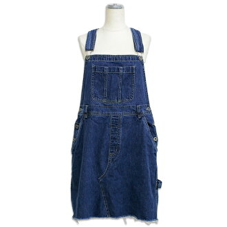 USED リメイクデニムミニオーバーオールワン piece vintage overalls up remake denim skirt/mini/one-piece/one-piece