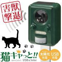 害獣撃退猫キャっと!USB&ソーラー充電