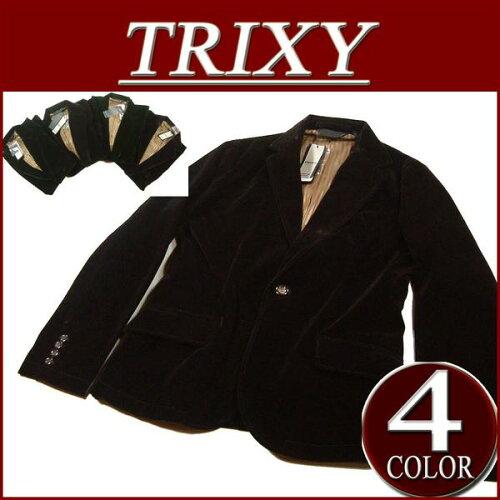 gi042 新品 TRIXY 1B ストライプ裏地 ベルベット テーラード ジャケット ベロア...