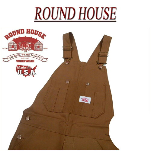 af111 新品 ROUND HOUSE USA製 HEAVY DUTY DUCK OVERALLS ブラウン ...