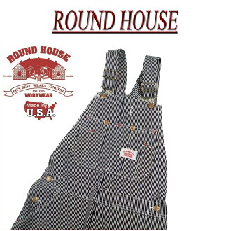 af101 brand new ROUND HOUSE standard USA VINTAGE STRIPE OVERALLS Hickory stripe denim overalls Lot45 men's Roundhouse casual work RoundHouse Made in USA