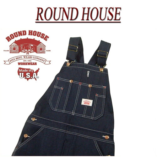 af091 新品 ROUND HOUSE USA製 CLASSIC BLUE OVERALLS クラシック...
