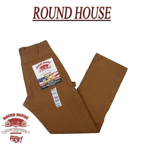 af141 新品 ROUND HOUSE 定番 USA製 DOUBLE FRONT DUNGAREES BROWN DUCK ...