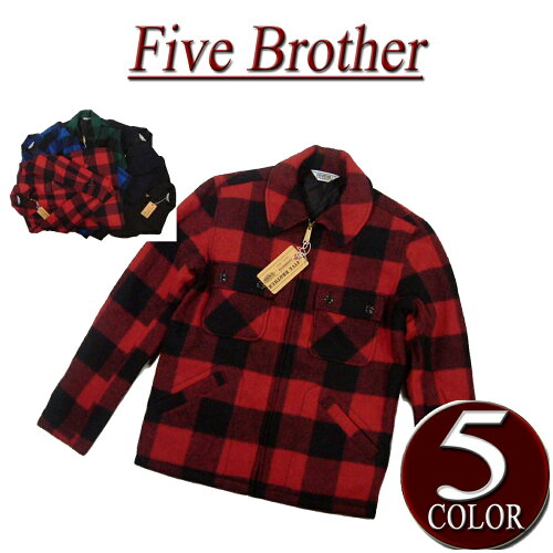 iw041 新品 FIVE BROTHER バッファローチェック & 無地 C.P.O ウールジャケット 15...