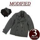 【3色3サイズ】 wu032 新品 MODIFIED ウール53% ショート丈 無地 メルトンウール Pコート メンズ ピーコート ジャケット アメカジ ブルゾン