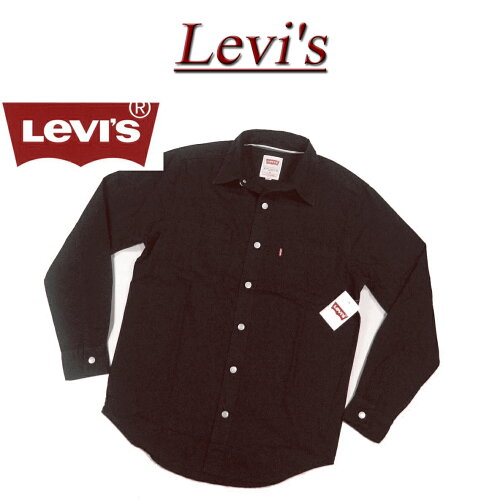 af082 新品 Levis コットンツイル ワークシャツ ブラック メンズ US...