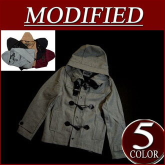 wu181 brand new MODIFIED wool 54% plain Melton wool short duffel coat men's jacket blouson.