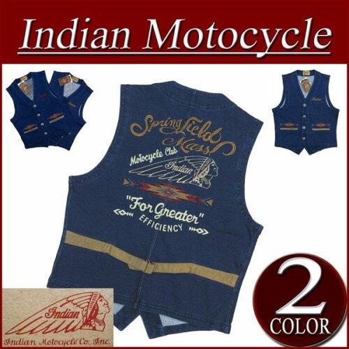 ia572 新品 INDIAN MOTOCYCLE ヘッドマーク ネイティブ柄 ロゴ刺繍 インディゴ染 ...
