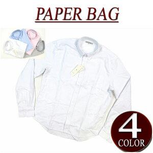 【4色3サイズ】 wu401 新品 PAPER BAG 長袖 無地 オックスフォード ボタンダウンシャツ メンズ ペーパーバッグ L/S OXFORD BD SHIRTS アメカジ オックスフォードシャツ BDシャツ 【smtb-kd】