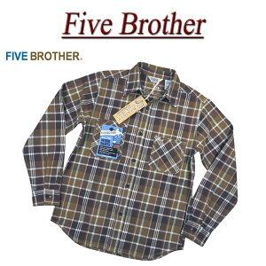 【4サイズ】 jd222 新品 FIVE BROTHER チェック 長袖 エクストラ ヘビーネルシャツ 151950 メンズ ファイブブラザー フランネルシャツ ワークシャツ ヘビネル Made in INDIA 【smtb-kd】
