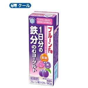 雪印 メグミルク プルーンFe 1日分の鉄分のむヨーグルト190g×18本【クール便】送料無料 鉄・ビタミンB12、葉酸