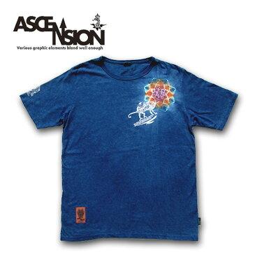 ASCENSION(アセンション)HEMP BASIC TEE (GO HEMP ボディー仕様) Indigo(藍染め)× 曼荼羅Tiedye「Chameleon」メンズ(mens)・レディース(ladys)・SUMMER サマー 夏 Tシャツ(T-shirt) シンプル半袖・登山 トレッキング ルーズネック ヘンプTEE as-609