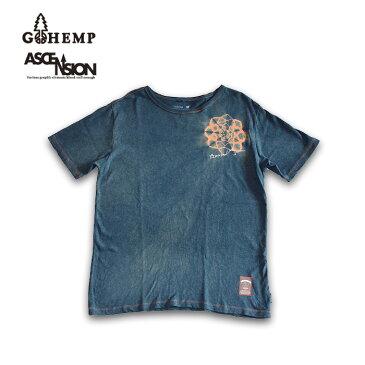 GOHEMP(ゴーヘンプ)HEMP TEE (GO HEMP ボディー仕様)ASCENSION(アセンション) Indigo(藍染め)× 曼荼羅Tiedye メンズ・レディース・ナチュラル・加工・プリント gh-079