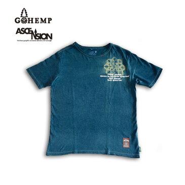 GOHEMP(ゴーヘンプ)HEMP TEE (GO HEMP ボディー仕様)ASCENSION(アセンション) Indigo(藍染め)× 曼荼羅Tiedye メンズ・レディース・ナチュラル・加工・プリント gh-080