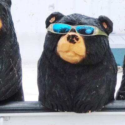 カワイイ!チェーンソー作家が作る1点物の熊の置物。ガーデニングのアクセントにも。【木彫り】...