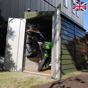 物置 屋外 大型 バイク ガレージ 物置き 【送料無料】 イギリス製メタルシェッドTM2ペントルーフ 幅1.3M 物置? 庭 ガーデン ガーデニング 倉庫 エクステリア 屋外収納庫 野外 収納 収納ボック