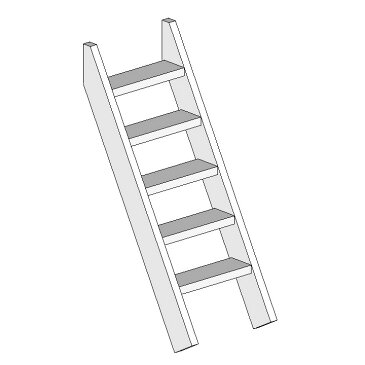 DIY 屋外 木製 家庭用遊具作成用パーツ「はらっぱギャング はらっぱBASEオプション 階段はしご H1500(エコアコールウッド)」【送料別】自作