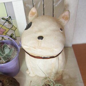 お庭やお部屋に飾りたいドッグオブジェ ブザイクで可愛い表情【犬 置物 陶器】【ガーデン ...