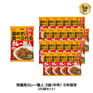5年保存 非常食 江崎グリコ 常備用カレー職人 カレー 中辛 1袋/170g×3食入 20袋セット