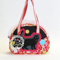 黒猫さんの黒X赤のコラボのコットンbag