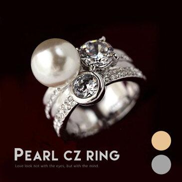 リング 指輪 プレゼント 人気 ゴージャス おしゃれ カワイイ ダイヤ 上品 大粒パール 記念日 自分へのご褒美 結婚式 パーティー カジュアル 大人可愛い 女性 ジュエリー アクセサリー ジュジュルナ jujuluna