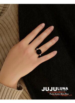 リング指輪レディースギフトカワイイおしゃれ知的記念日自分へのご褒美結婚式パーティーカジュアル大人可愛い女性ジュエリーアクセサリージュジュルナjujulunaオニキス黒めのう