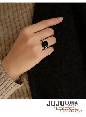 リング指輪レディースギフトカワイイおしゃれ知的オニキス黒めのう上品シック記念日自分へのご褒美結婚式綺麗パーティーカジュアル大人可愛い女性ジュエリーアクセサリージュジュルナjujuluna