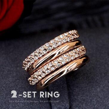 リング 指輪 2本 ゴージャス プレゼント 人気 おしゃれ カワイイ 記念日 自分へのご褒美 結婚式 パーティー カジュアル 大人可愛い 女性 ジュエリー アクセサリー ジュジュルナ jujuluna