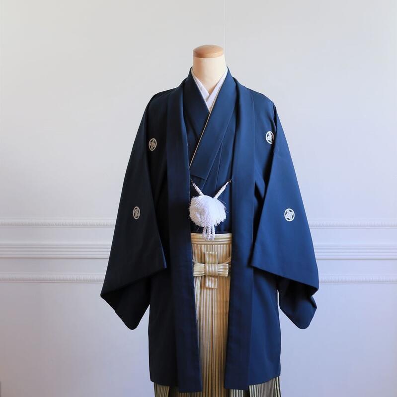 【レンタル】羽織(紺)・袴(ゴールドぼかし縞)フルセット【送料無料】